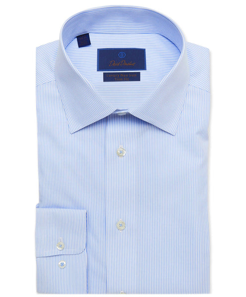 TBCSP3908135 | White & Blue Striped Non-Iron Dress Shirt