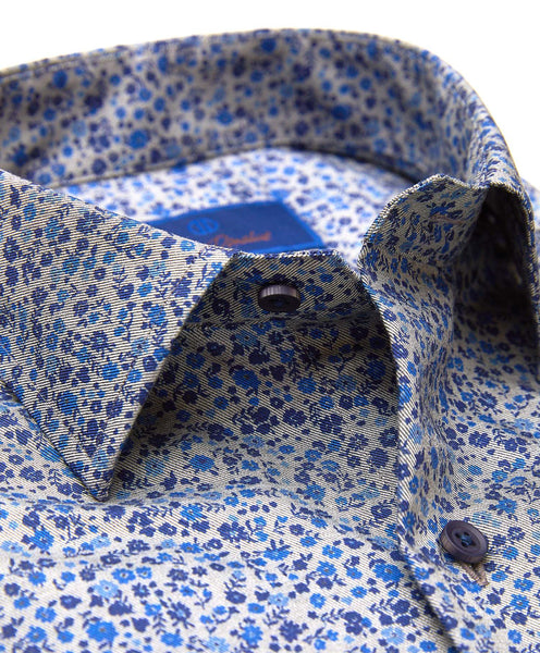 TBSM01402027 | Slate & Blue Floral Printed Fusion Shirt