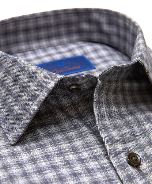 TBSM01832010 | Charcoal Heathered Check Fusion Shirt