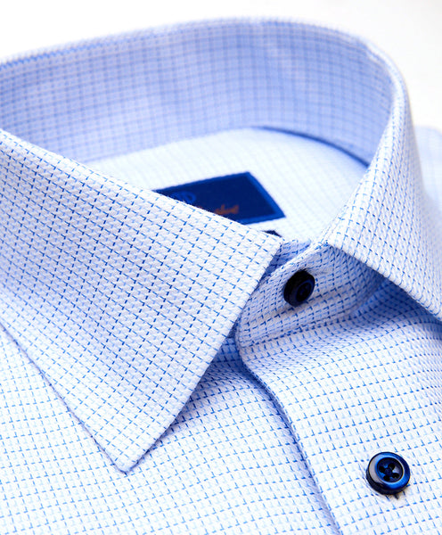 TBSP01206135 | White & Blue Micro Tic Non-Iron Dress Shirt