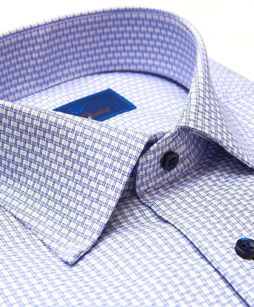 TBSP01216135 | White & Blue Textured Dobby Dress Shirt