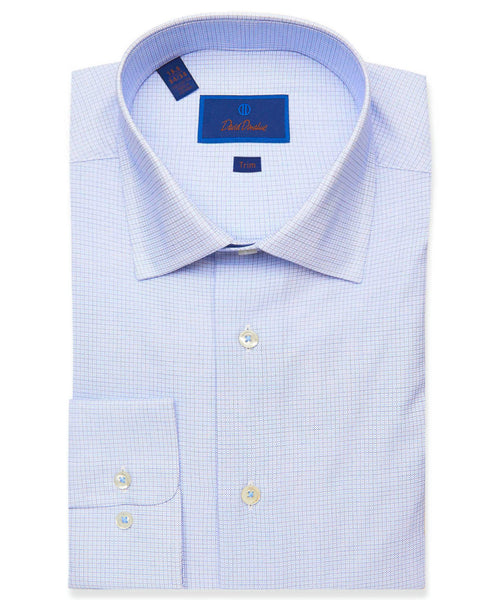 TBSP01217423 | Blue Textured Micro Check Dress Shirt