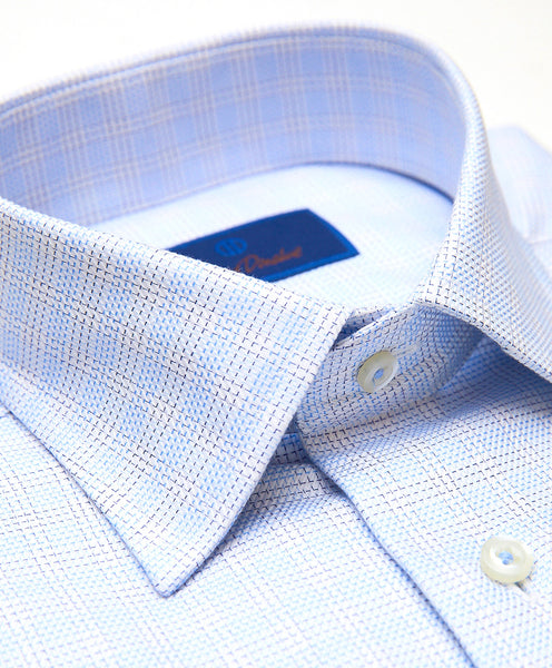 TBSP01801135 | Blue Plaid Twill Dress Shirt