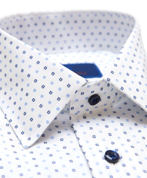 TBSP02233135 | White & Blue Mini Flower Dress Shirt