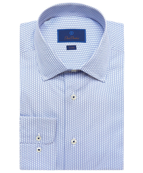TBSP02234135 | Blue Horizontal Diamond Dress Shirt