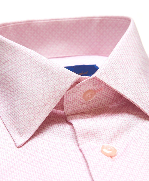 TBSP02411145 | White & Pink Floral Neat Print Dress Shirt