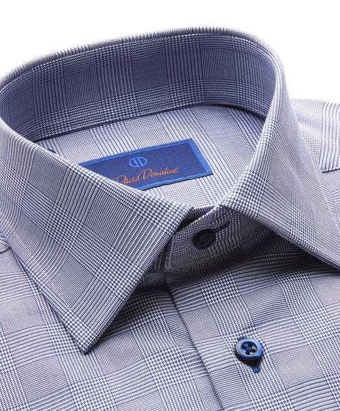 TFCSP9865412 | Navy Glen Plaid French Cuff Dress Shirt