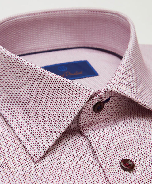 TMBSP2812165 | White & Merlot Textured Mini Check Dress Shirt