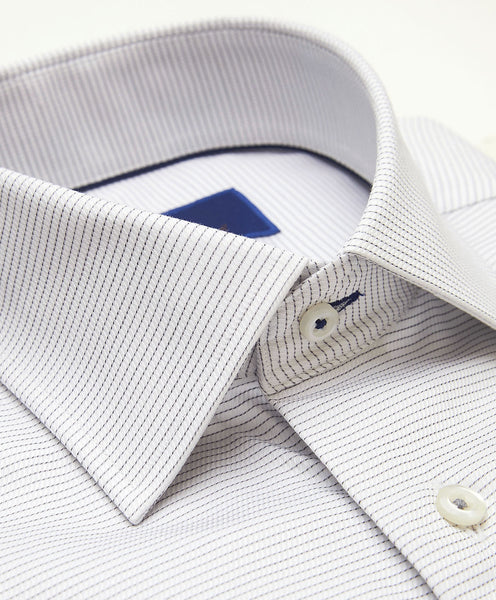TMBSP3211125 | White & Gray Horizontal Stripe Dress Shirt