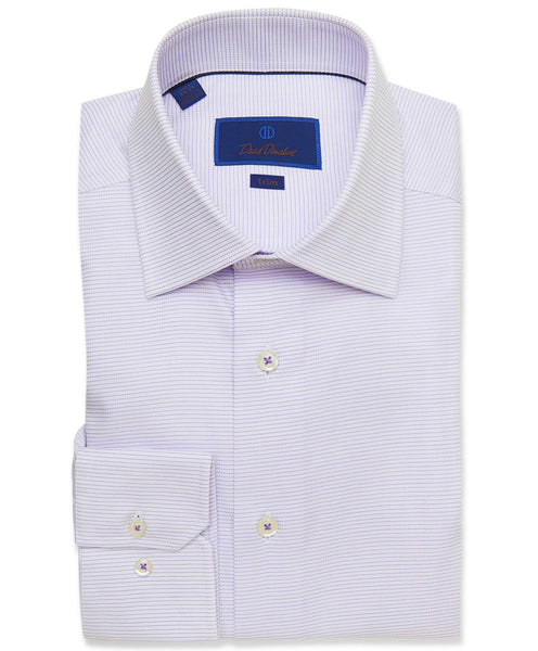TMBSP3211133 | White & Lilac Horizontal Stripe Dress Shirt