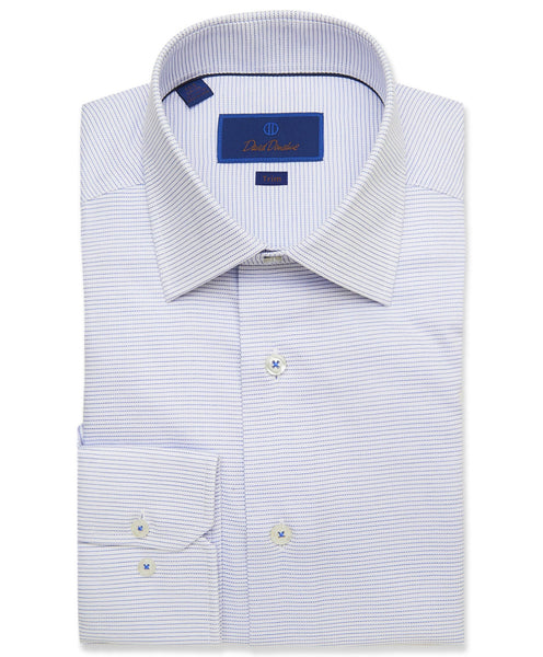 TMBSP3211135 | White & Blue Horizontal Stripe Dress Shirt