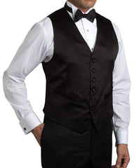 Black Satin Formal Vest