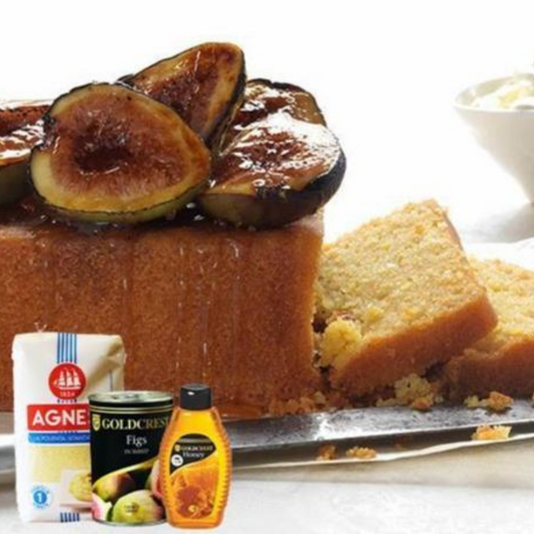 Polenta Cake with Burnt Figs & Honey
