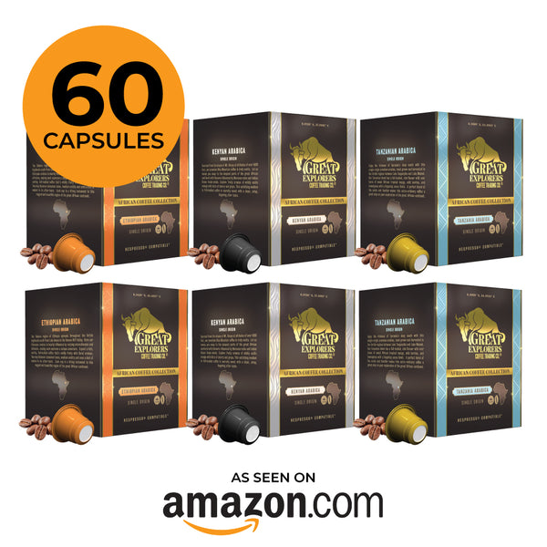Great Explorers 60 Single Origin Premium African Coffee Mix Value Pack