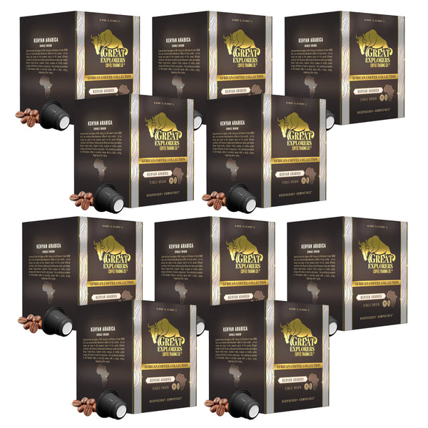 Nespresso Compatible 100 Single Origin Kenyan Dark Roast Coffee Capsules Bulk