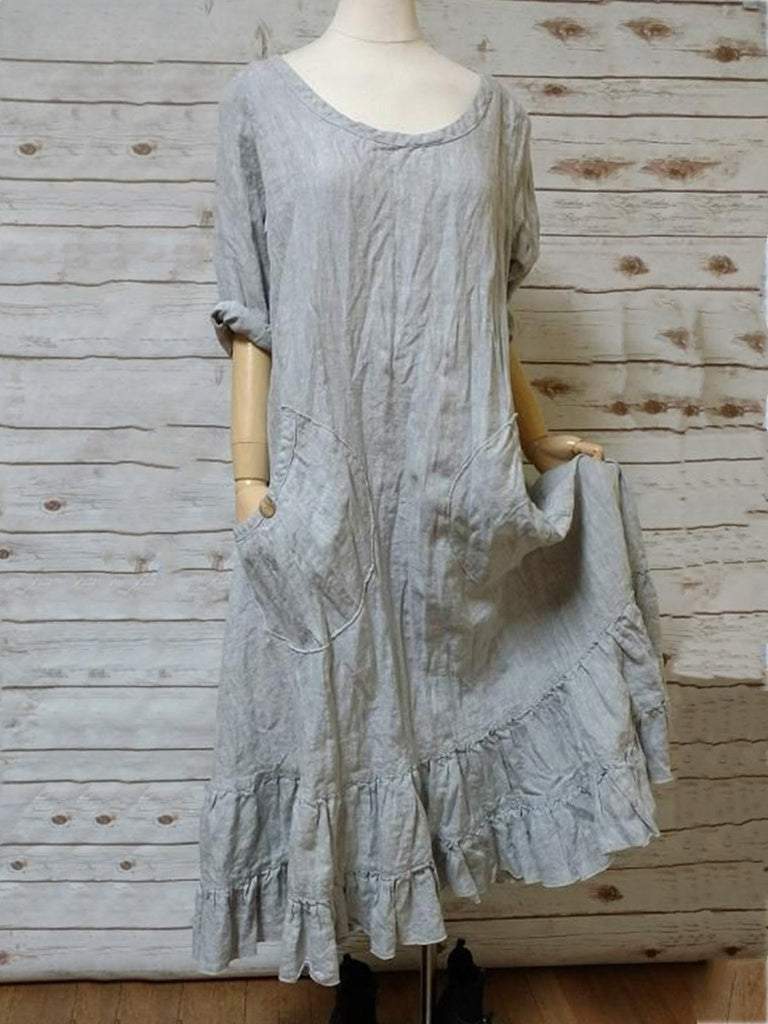 Gray Short Sleeve Casual Cotton Dresses