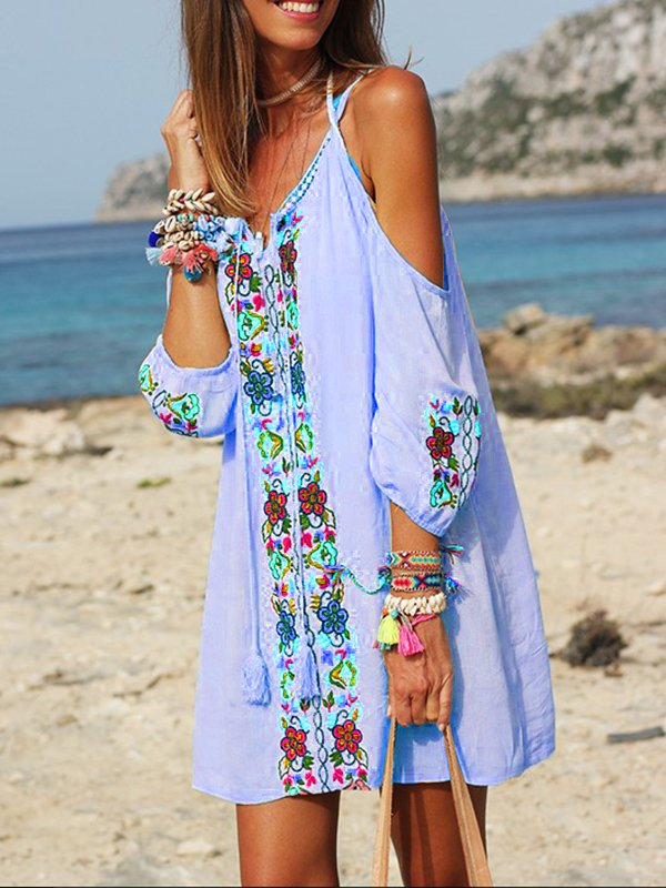 Half Sleeve Sweet Off Shoulder Patchwork Casual Dresses