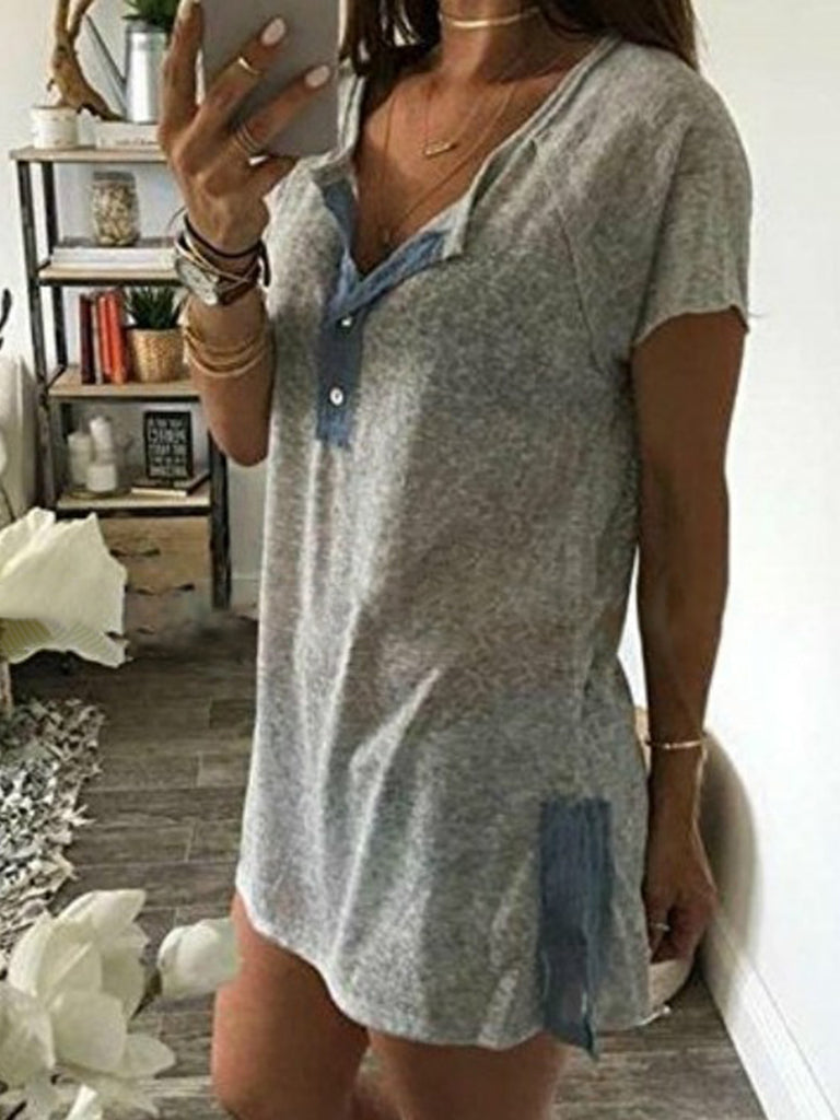 Gray Sexy Paneled Acrylic V Neck T-shirt