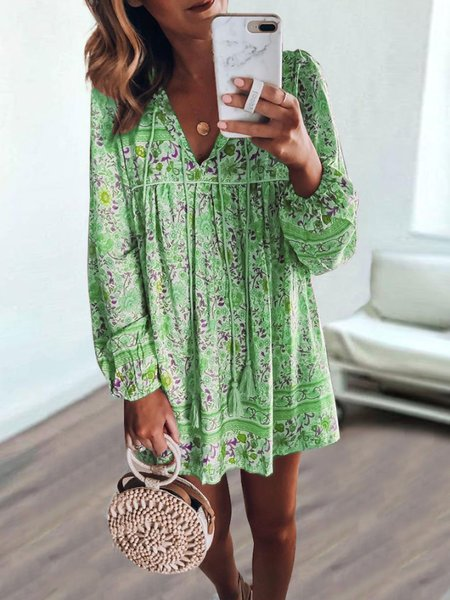 Bohemian long-sleeved dress
