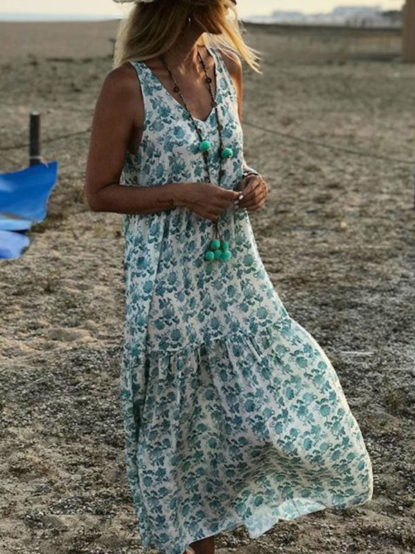 V-neck Flowers Printed Maxi Dress Green