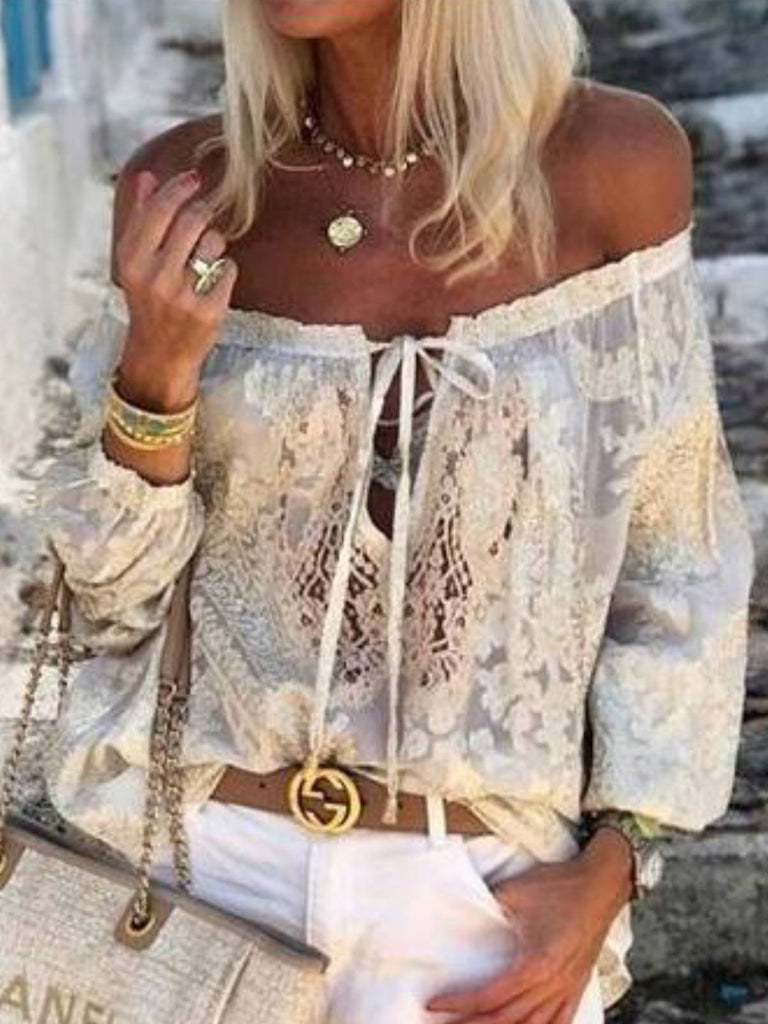 White Lace Half Sleeve Shirts & Tops
