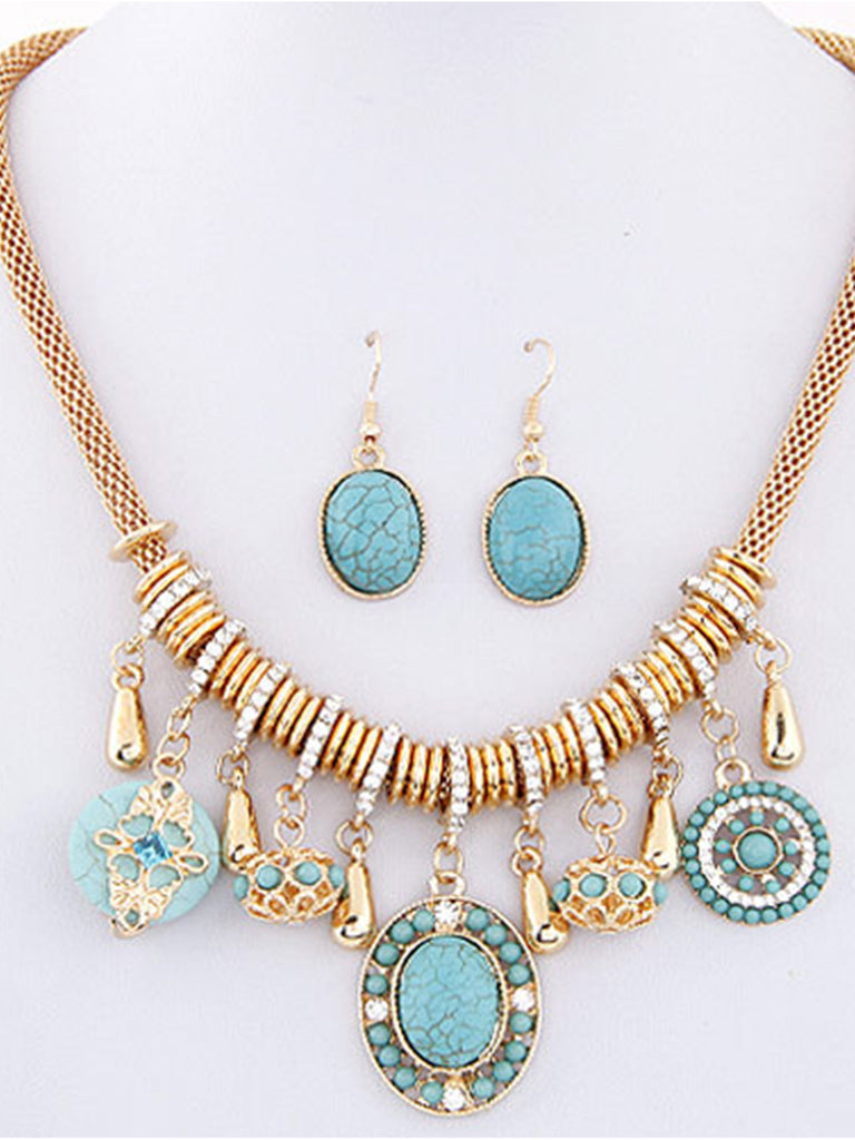Fashion Bohemian Earrings Ear Jewelry Necklace Set