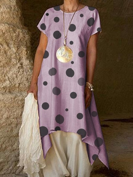 Vintage Asymmetrical Polka Dots Short Sleeve Linen Plus Size Dress