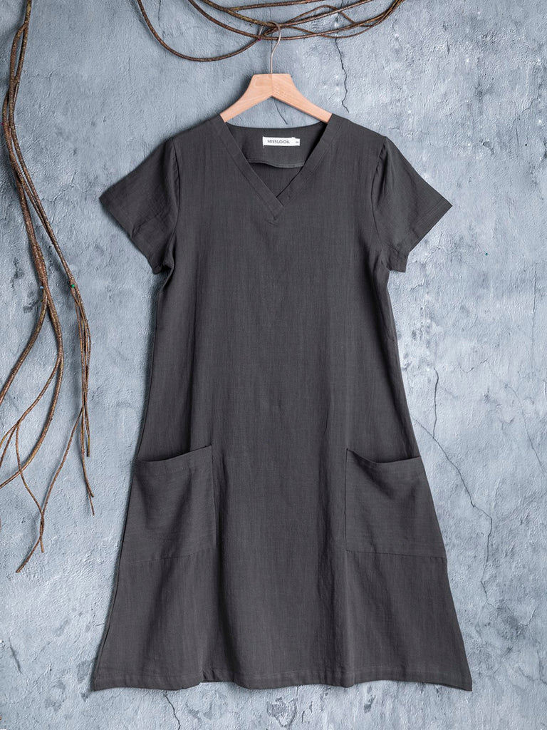Casual Shift V-Neck Pockets Summer Short Sleeve Plus Size Dress