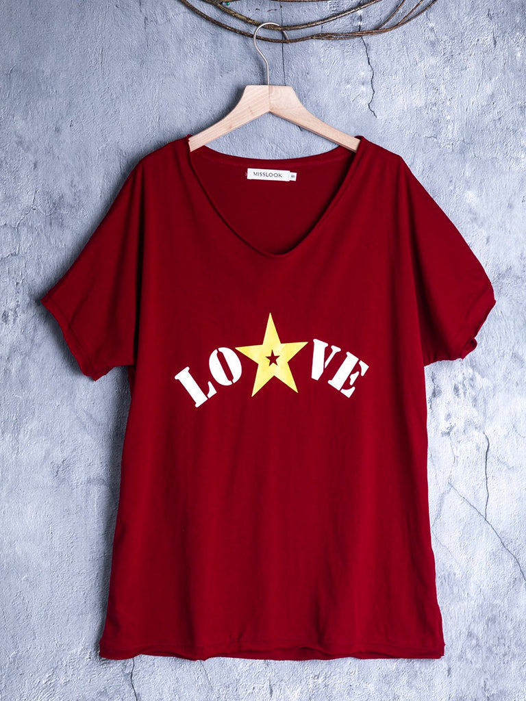 Casual V Neck Short Sleeve Letter Shirts