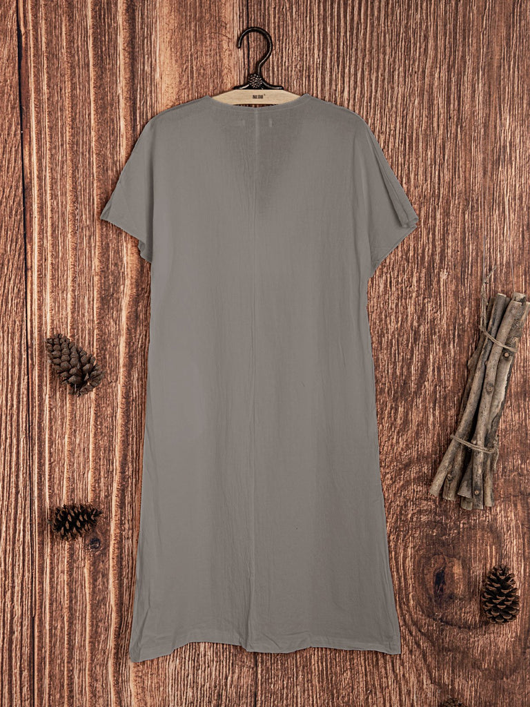 Short Sleeve Pockets Casual Cotton-Blend Dresses