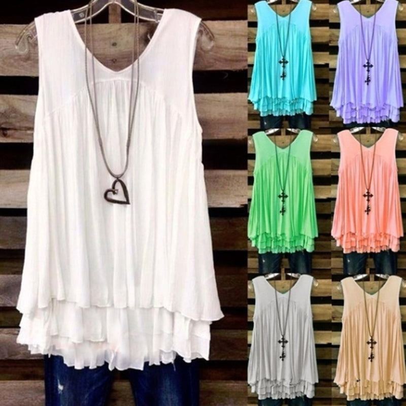 Casual Solid Sleeveless V Neck Shirts