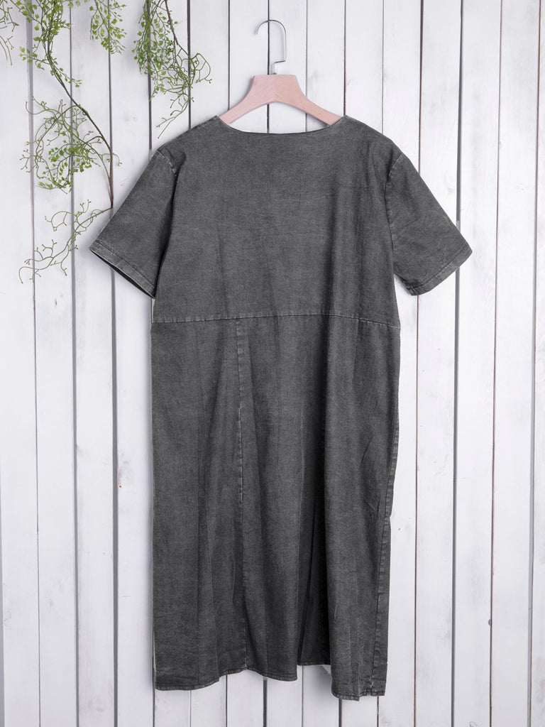 Pockets Short Sleeve Simple & Basic Cotton Dresses