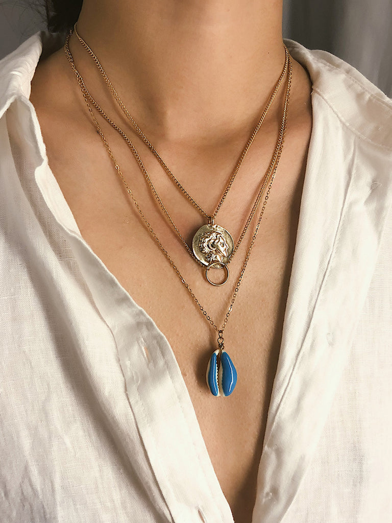 Women Multi-layer Shell Casual Golden Necklaces
