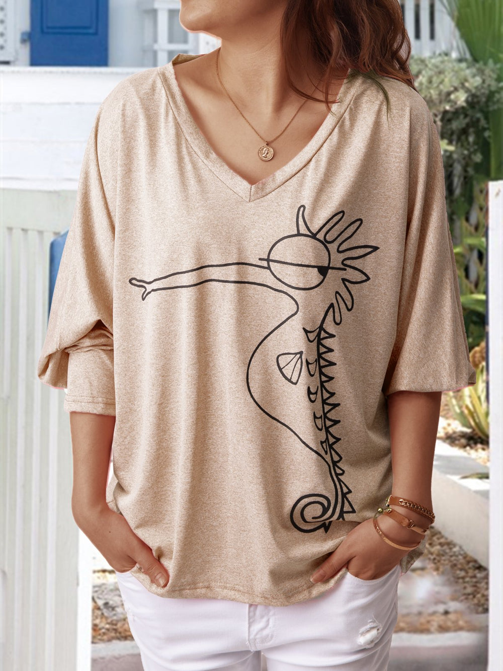 3/4 Sleeve V Neck Casual Seahorse Tops