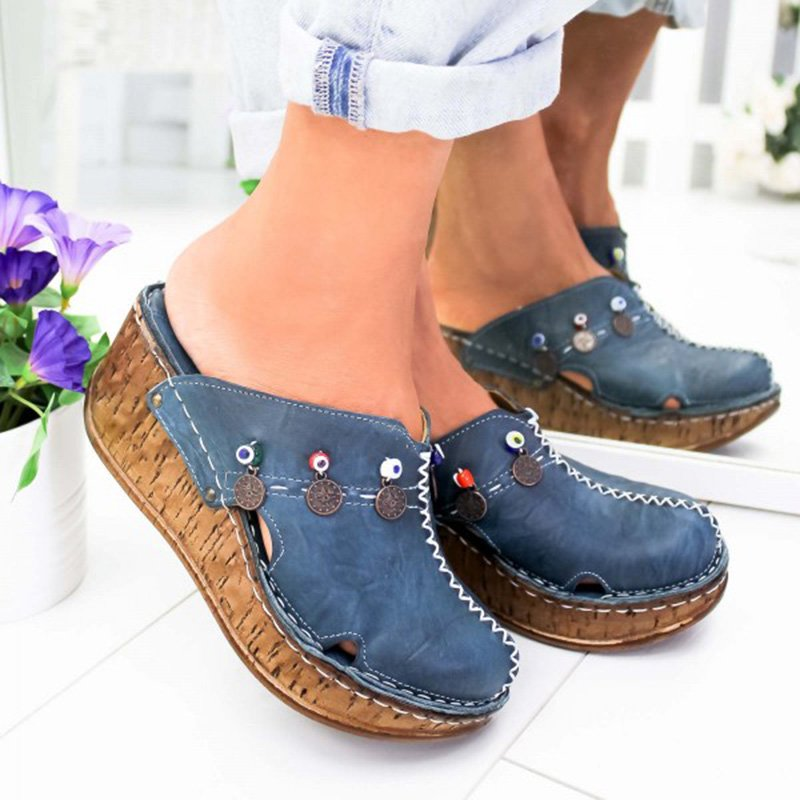 Women Casual Stylish Close Toe Wedge Sandals