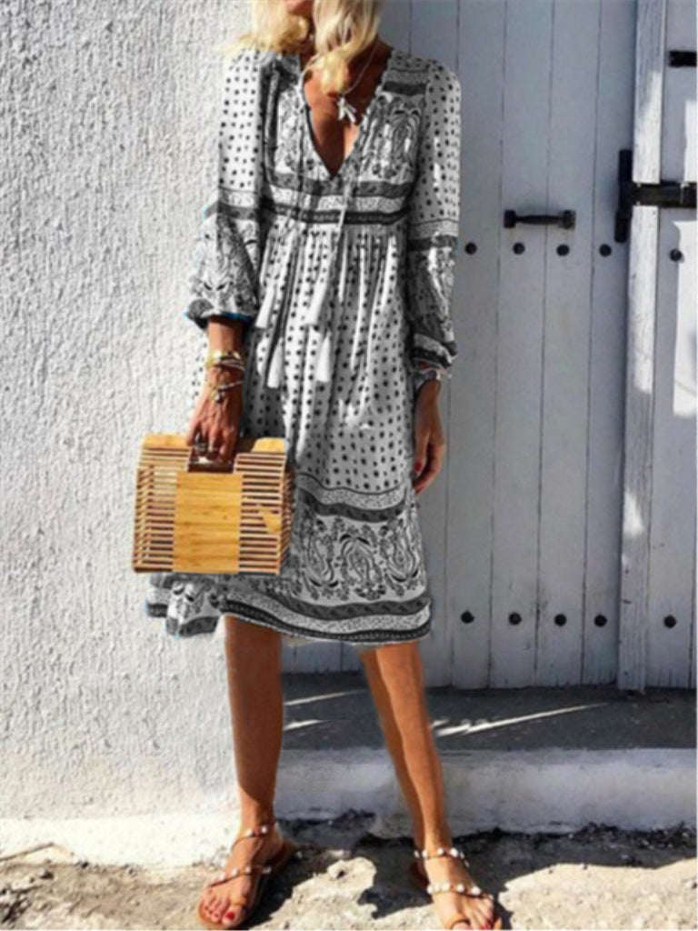 V Neck Floral Printed 3/4 Sleeve Holiday Midi Dress