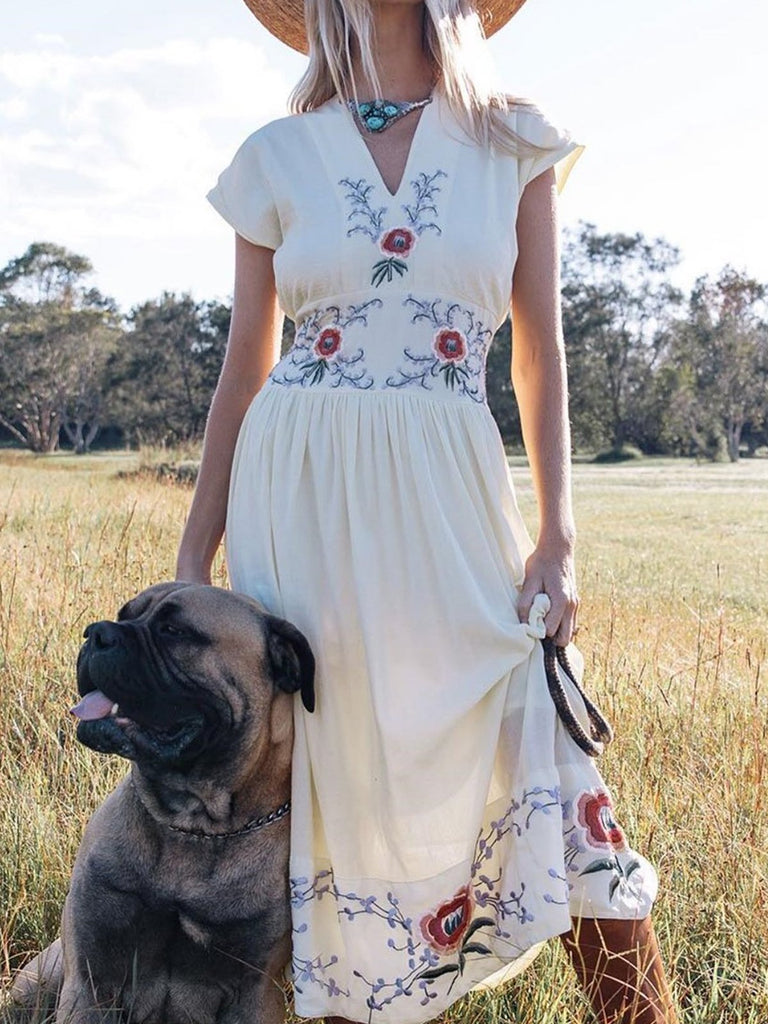 Bohemian holiday floral dress