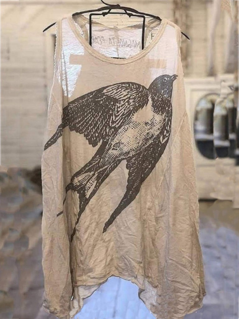 Plus Size Casual Sleeveless Printed Tops