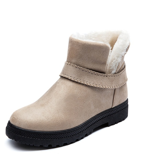Annychloe Women Fashion Suede Ankle Cotton Booties Snow Boots