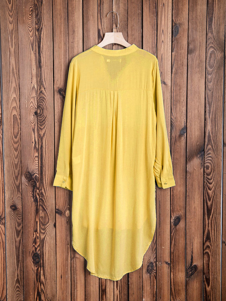 Stand Collar Women Summer Chiffon Shirt Dresses
