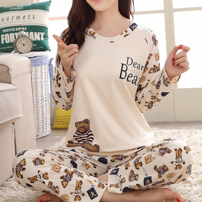 Annychloe Cute Print Casual Comfy Sleepwear Set