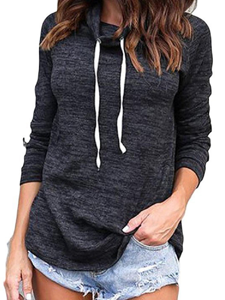 Solid Asymmetric Cowl Neck Long Sleeve T-Shirt