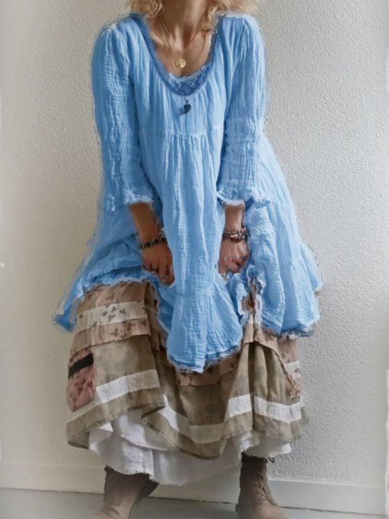 3/4 Sleeve Patchwork Casual Round Neck Dresses
