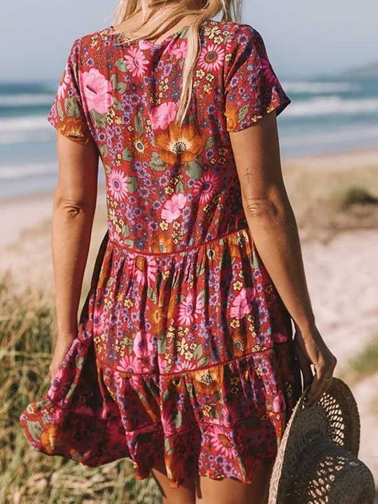 Women Floral Slim Vacation Dress