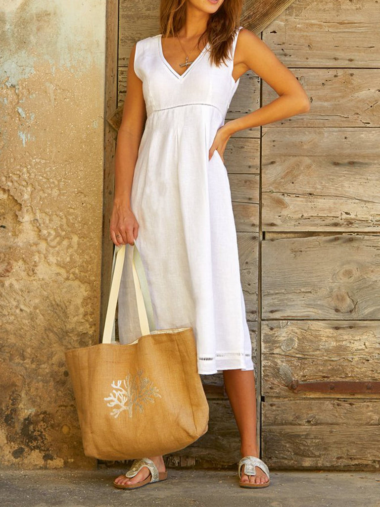 Sleeveless V Neck Holiday Midi Dresses