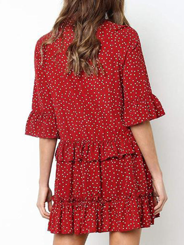 Annychloe Casual Ruffled Dots V Neck Dress