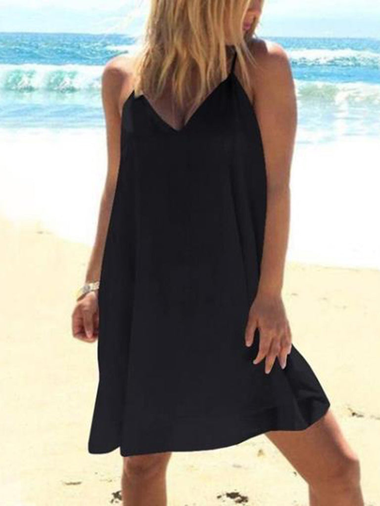 Solid Sleeveless Casual Vacation Dress