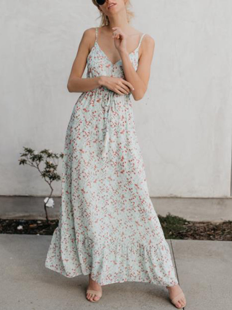 Annychloe Casual Floral-Print Sleeveless Maxi Dress