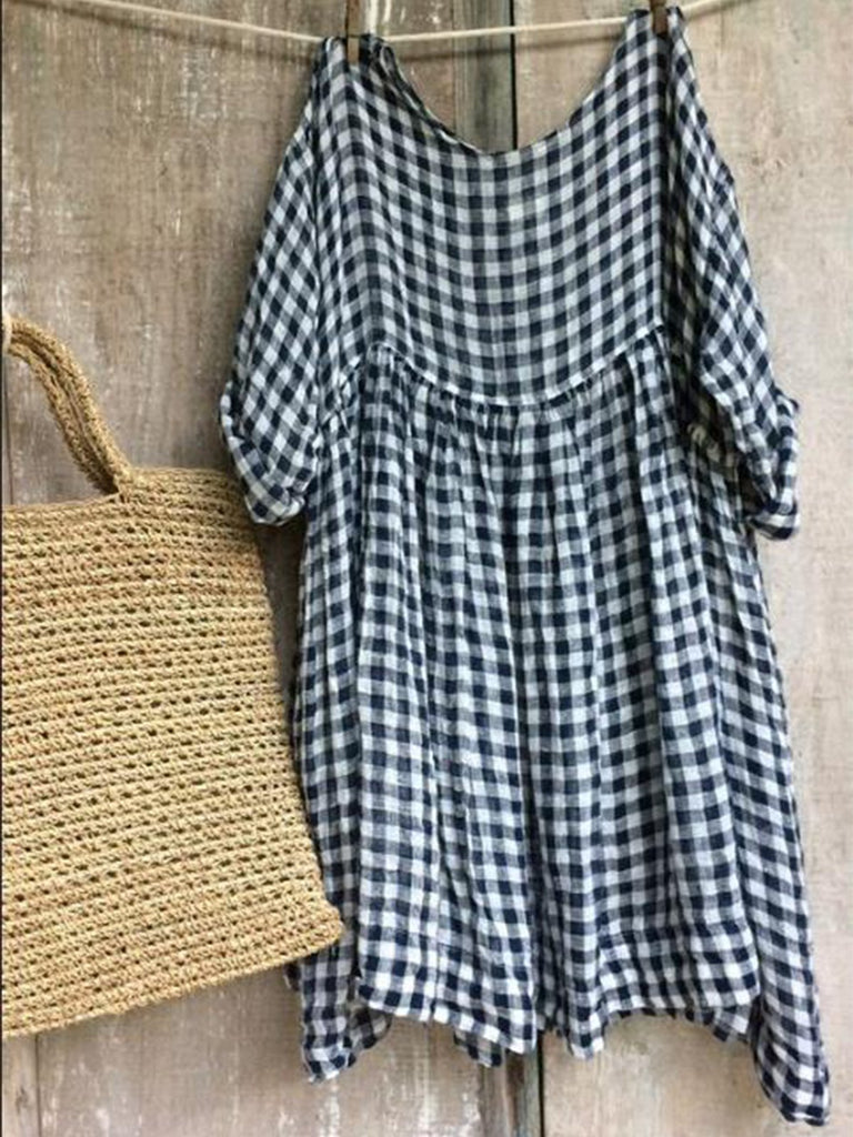 Casual Half Sleeve Round Neck plaid Dresses