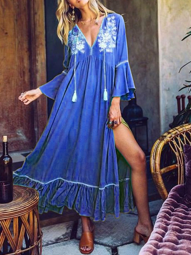 Annychloe Boho Style Shift Tassels Maxi Dress